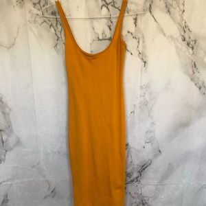 Forever 21 Long Mustard Fitted Dress